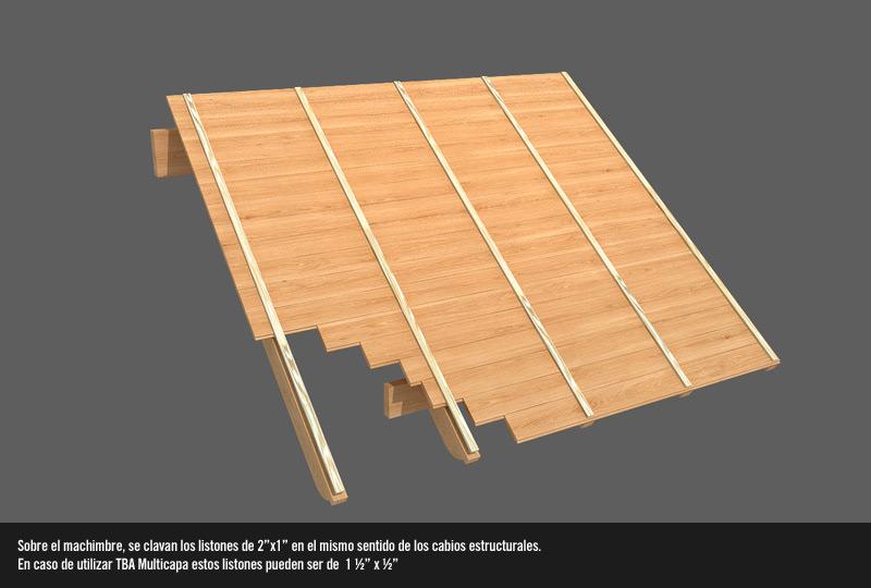 Como hacer un techo de machimbre alba iles for Como poner chirok en el techo
