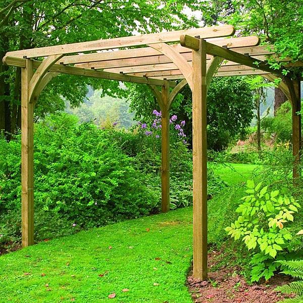 C mo construir una p rgola de madera alba iles - Como hacer pergola de madera ...